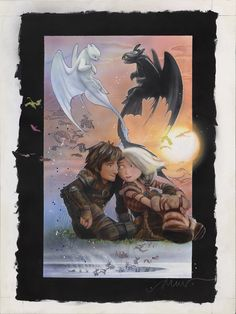 Dreamworks commissioned How to Train Your Dragon The Hidden World posters from legendary poster artist Drew Struzan, bringing him out of retirement. Dragons Le Film, Httyd Dragons, Dreamworks Dragons, Httyd 3, Dragon Rider, Dragon 2, How To Train Dragon, How To Train Your, Kawaii Dragon