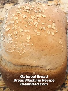 This classic oatmeal bread machine recipe is perfect for great tasting lunch sandwiches. and it adds some healthy oatmeal into your family's diet. Bread Machine Recipes Healthy, Bread Maker Recipes, Gluten Free Oatmeal Bread Machine Recipe, Best Bread Machine, Sandwiches For Lunch, Oatmeal Recipes, Bread Rolls, Bread Baking, Bread Food