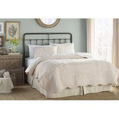 Detailed stitching creates an intricate pattern on this classic white quilt. Finished with a gently scalloped edge, it brings a subtle touch of style to your bed. Queen Bedroom, Bedroom Bed, Bedroom Decor, Master Bedroom, Shabby Bedroom, Bedroom Ideas, Country Bedding Sets, Ruffle Bedding, Bedroom Furniture Sets