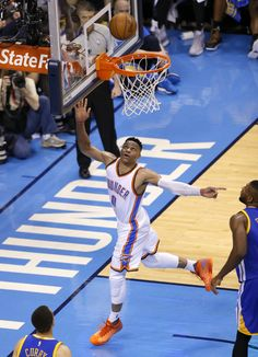 Oklahoma City's Russell Westbrook (0) watches the ball go into the basket during Game 3 of the Western Conference finals in the NBA playoffs between the Oklahoma City Thunder and the Golden State Warriors at Chesapeake Energy Arena in Oklahoma City, Sunday, May 22, 2016. Photo by Sarah Phipps, The Oklahoman
