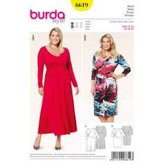 This jersey dress is an up-to-date wrap style. Choose from a bell-shape or narrow skirt, midi length or over the knee. A Burda Style sewing pattern. Burda Sewing Patterns, Clothing Patterns, Dress Patterns, Paper Patterns, Plus Size Summer Fashion, Plus Size Sewing, Bobe, Mom Dress, Lace Romper