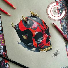 Darth Maul Skull! Pencil drawing by @chris_clarke_art using a skull design by @jackofthedust! #artistinspired #theartisthemotive by worldofpencils
