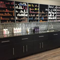 Each stylist would have their own section. :) Developer bottles under cabinet. Under cabinet lighting. http://amzn.to/2t2peSa