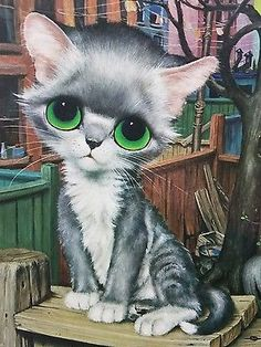 Kitty by Gig Vintage Big Eye Art 🌻 For more great pins go to Puppies And Kitties, Cats And Kittens, Sad Cat, Sad Kitty, Animals And Pets, Cute Animals, Cats With Big Eyes, Cat Drawing, Drawing Animals