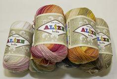 Letné vlny   Fialovo cyklámenovo oranžová melírovaná bavlnená vlna Bella Batik 4595   Online predaj pletacích, strojových a textilných priadzí
