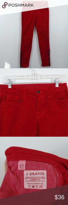 """J BRAND Red Corduroy Pants J BRAND Pants Corduroy Skinny Jeans {Great Red} Zipper Cuff Women's Size 27  These pants are a must have for the fall and holiday season.  Red corduroy, tapered leg, with zipper at the hems.  In excellent condition!!!   (Measurements laying flat) Waist: 14.5"""" Inseam: 29""""  Please message me with any questions.  Check out my other items! J Brand Pants"""