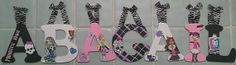 Hand painted monster high girls wall letters