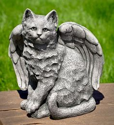 USA-Made Cast Stone Angel Kitty Garden Statue | Garden Statues