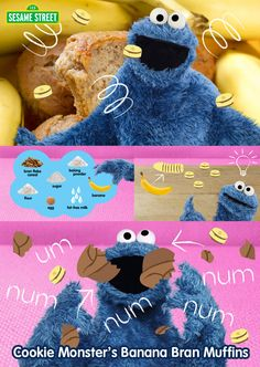 Om nom nom nom! Bake these Cookie Monster's Banana Bran Muffins with your child today! Use this recipe now: http://www.sesamestreet.org/parents/topicsandactivities/recipes/branmuffin #food #dessert #healthy