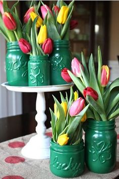 painted mason jars for St Patricks Day