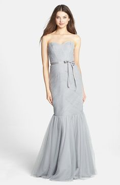 For Alex' wedding in Dove - Monique Lhuillier Bridesmaids Tulle Trumpet Dress available at #Nordstrom