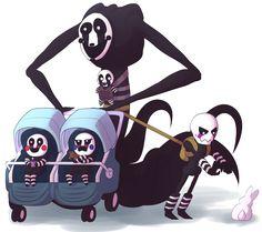 Y donde esta ese apoyo para todos esos padres que les toca ser madres, puppets, reapers, arboles y delirios a la vez? JSJSJSJSJ no c, al principio los dibujaría en humanos, pero pensé que...