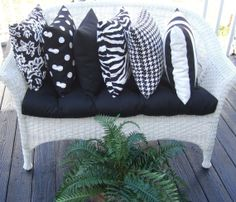 Set of 6 - Assortment of Black & White Patterned Indoor / Outdoor Pillows by PillowsCushionsOhMy, $99.96