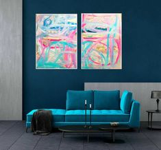 TWO Paintings  TWO painting prints, not just ONE - This is a Diptych (2 paintings) abstract mixed media pieces. They are Digital Download/Instant Downloads. Take the files to your local printer and print it on canvas or paper and frame it. Perfect for your living room, bedroom, office, study or