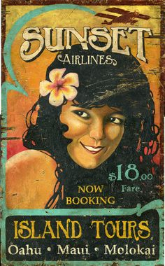 Sunset Airlines - Vintage Beach Sign