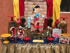 Happy 1st birthday Noah! Thank You For Having Us @jennyduhh #pinocchio #pinocchioparty #candybar #yumyumcandybars #birthdayparty #kidsparty 3rd Birthday Parties, Boy Birthday, Pinocchio Disney, Happy 1st Birthdays, Candy Bars, Balloon Arch, Holidays And Events, Yum Yum, Party Ideas