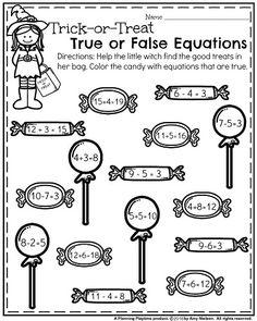 First Grade Worksheets for October - True or False Equations.