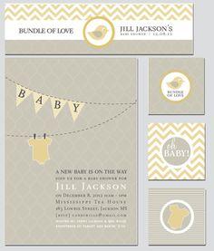 Decoración y pennant Banner bebé ducha invitación por thinkRSVP