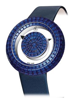 Jacob Co.'s Brilliant Mystery Baguette Collection Timepiece Invisibly set with Baguette Blue Sapphires #JacobArabo #JacobandCo. #Brilliant