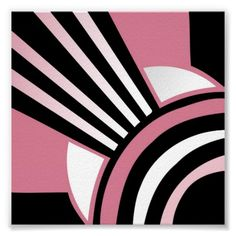 Art Deco Pattern, Pinks Black and White Posters from Zazzle, £9.21