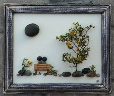 Pebble Art / Rock Art Couple sitting on a bench, anniversary gift, any occasion…