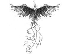Fierce phoenix tattoo: Love the design, but wispy feathers would look prettier.