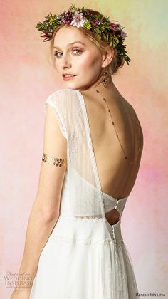 rembo styling 2017 bridal cap sleeves v neck simple grecian romantic a  line wedding dress low back sweep train (favorite) zbv -- Rembo Styling 2017 Wedding Dresses