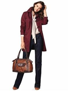 I adore everything about this outfit- the trench coat, the jeans, especially the cute leather satchel. Yes please!