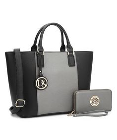 Love this Silver & Black Classic Satchel & Wallet on #zulily! #zulilyfinds