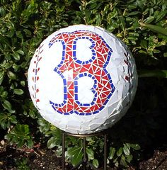 Red Sox Mosaic Gazing Ball   by GardenDivaDeb
