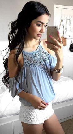 #summer #alyssa #outfits | Blue + White