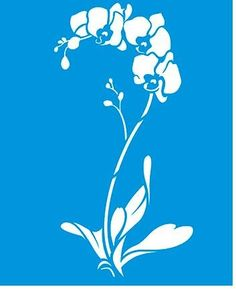 x x Reusable Flexible Plastic Stencil for Graphical Design Airbrush Decorating Wall Furniture Fabric Decorations Drawing Drafting Template - Orchidaceae Orchid Flower Leaves Air Brush Painting, Stencil Painting, Fabric Painting, Fabric Art, Stenciling, Stencil Patterns, Stencil Designs, Kirigami, Flora Und Fauna