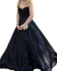 Sweetheart Lace Crystal Ball Gown Black Satin Prom Dress Evening Dress 4. Material:Lace,Satin,Crystal. Please refer to OUR size chart displayed next to the main item images. Need 7 days for processing, 5 days for shipping,ignore the delivery date after the payment set automatically. If you have any doubts about this dress, please contact us freely, and we are always at your service. Accpet Custom Size and Color.