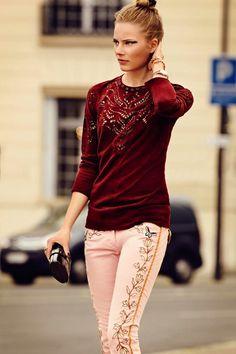 Isabel Marant   pink jeans & studded laser cut top   autumn opus L'Official Paris