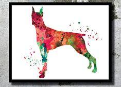 Doberman Pinscher Watercolor Art Print Dog Art Dog by BogiArtPrint