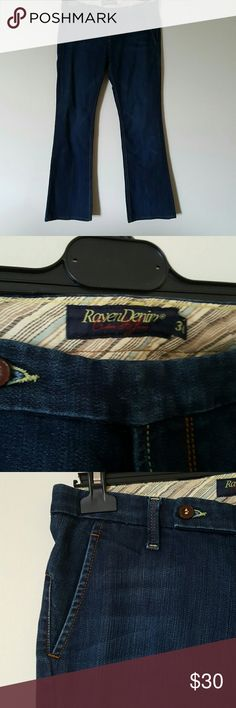 Raven Denim size 30 boot cut jeans Raven Denim size 30 boot cut jeans. Dark wash with slight feathering. Trouser like pockets. Raven Denim Jeans Boot Cut