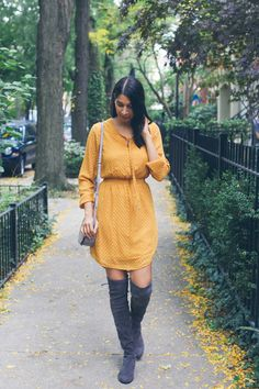 Grey suede overknee boots and yellow dress