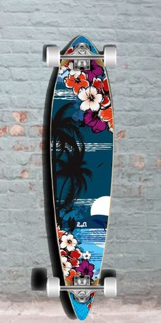 The Tropical Night is an attractive flat deck pintail longboard of Maple. Quality and cheap punked beach longboard, for carving and cruising. Skateboard Deck Art, Penny Skateboard, Skateboard Design, Surfboard Art, Painted Skateboard, Skates, Pintail Longboard, Long Skate, Longboard Design
