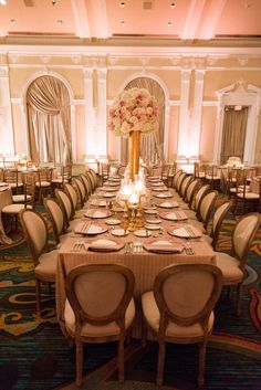 Ballroom Wedding Reception Decor with Blush and Ivory Floral Centerpieces in a Tall, Golden Vase | St. Petersburg Wedding Venue The Renaissance Vinoy Hotel