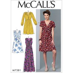 An easy pullover dress sewing pattern for warmer weather. This McCall's pattern has loose-fitting, lined bodice with shoulder pleats, raised front waist, front pleated and elasticized back skirt.
