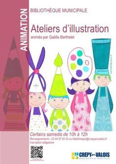 atelier d'illustration de Gaëlle Berthelet à la bibliothèque municipale pour les 6-10 ans. Le samedi 24 mai 2014 à crepy-en-valois.