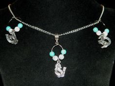 """Turquoise Silver Country Western Necklace Earrings Jewelry Set 17"""" Horse Shoe"""