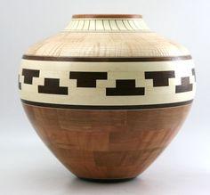 Crandall, Glen - Glen Crandall - Cherry, Walnut, Maple and Holly Turned Segmented Wooden Jar