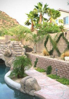 Beautiful landscaping by a pool and block fence (with a retaining wall).  Vertical Plants to soften all the hardscaping.  This is how I want my back yard to look.