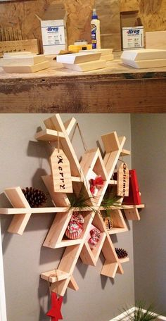 Estante DIY en forma de copo - woodshopdiaries.com - DIY Wooden Snowflake Shelf