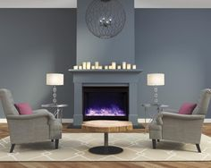 Decorate any room with the beautiful and stylish Zero Clearance electric fireplace. This fireplace with an elegant square steel surround will bring a Wow! factor to any space. The new fireplace features an extra deep tray and new steel surround. Fireplace Inserts, Fireplace Wall, Fireplace Ideas, Linear Fireplace, Living Room Designs, Living Room Decor, Living Spaces, Built In Electric Fireplace, Electric Fireplaces