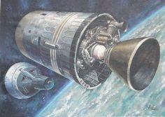 '65 BORMAN & LOVELL nasa apollo astronaut painting vtg gemini 7 airforce aerojet