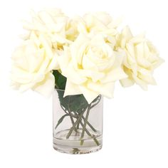 """Creative Displays 12-inch Fully Bloomed White Rose Bouquet In Acrylic Water Vase (12 L x 10.5"""" W x 12"""" H)"""
