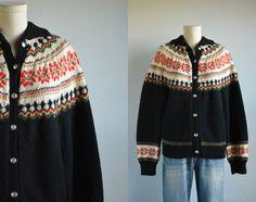 Vintage Norwegian Wool Fair Isle Cardigan / 1960s by zestvintage