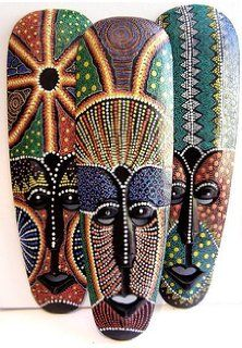 australian aboriginal masks - Google Search Arte Tribal, Tribal Art, African Art Paintings, African Artwork, Aboriginal Dot Painting, Art Africain, Africa Art, African Tribes, Masks Art